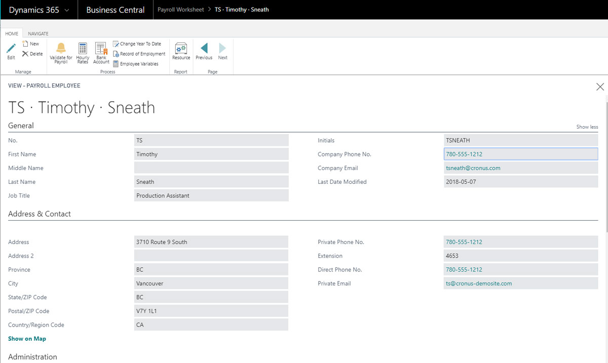 Canadian Payroll for Microsoft Dynamics 365 Business Central