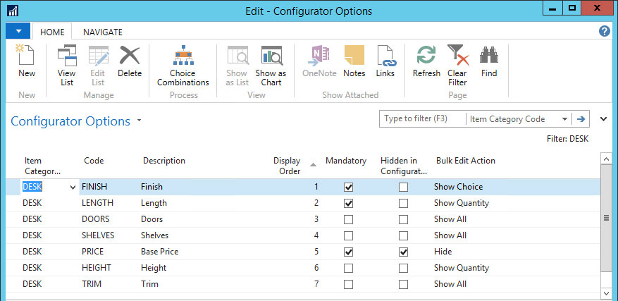Configurator Options