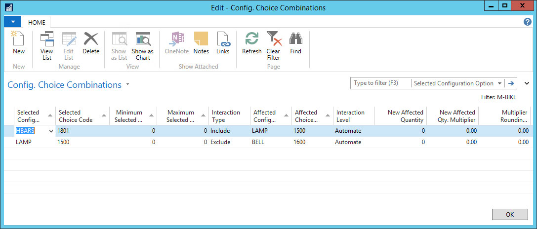 Configurator Choice Combinations