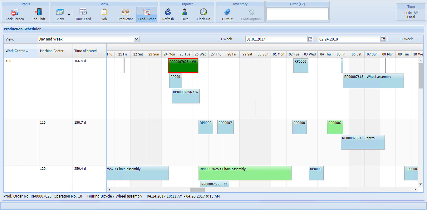 Scheduling Whiteboard and Graphical Dispatch List