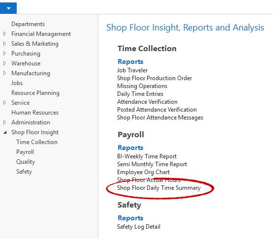 Shop Floor Daily Time Summary