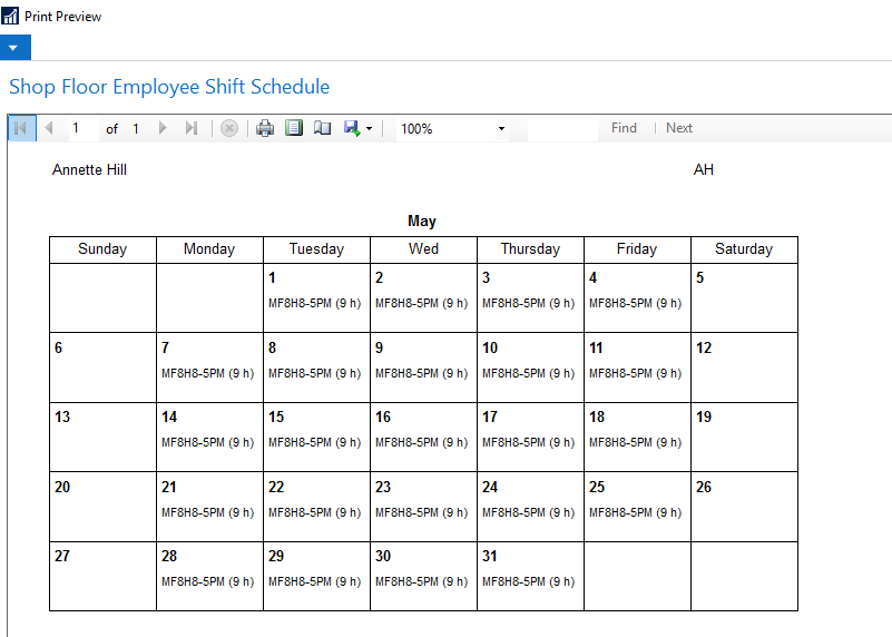 Shop Floor Employee Shift Schedule