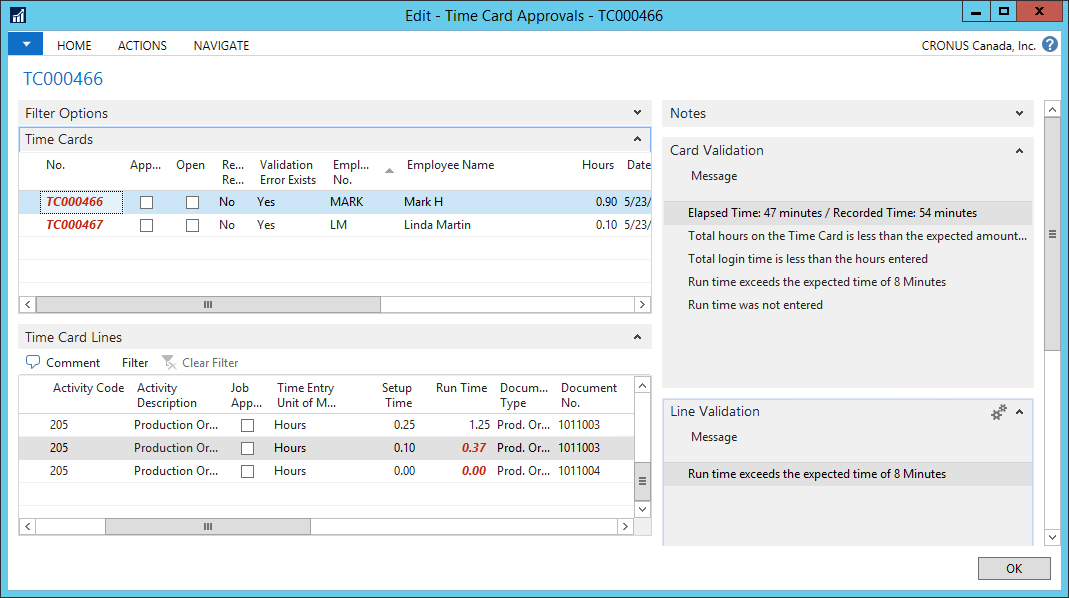 Simplified time validation & approval
